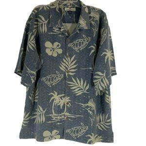 Tommy Bahama Xtra-Large Shirt Mint Teal 100% Silk